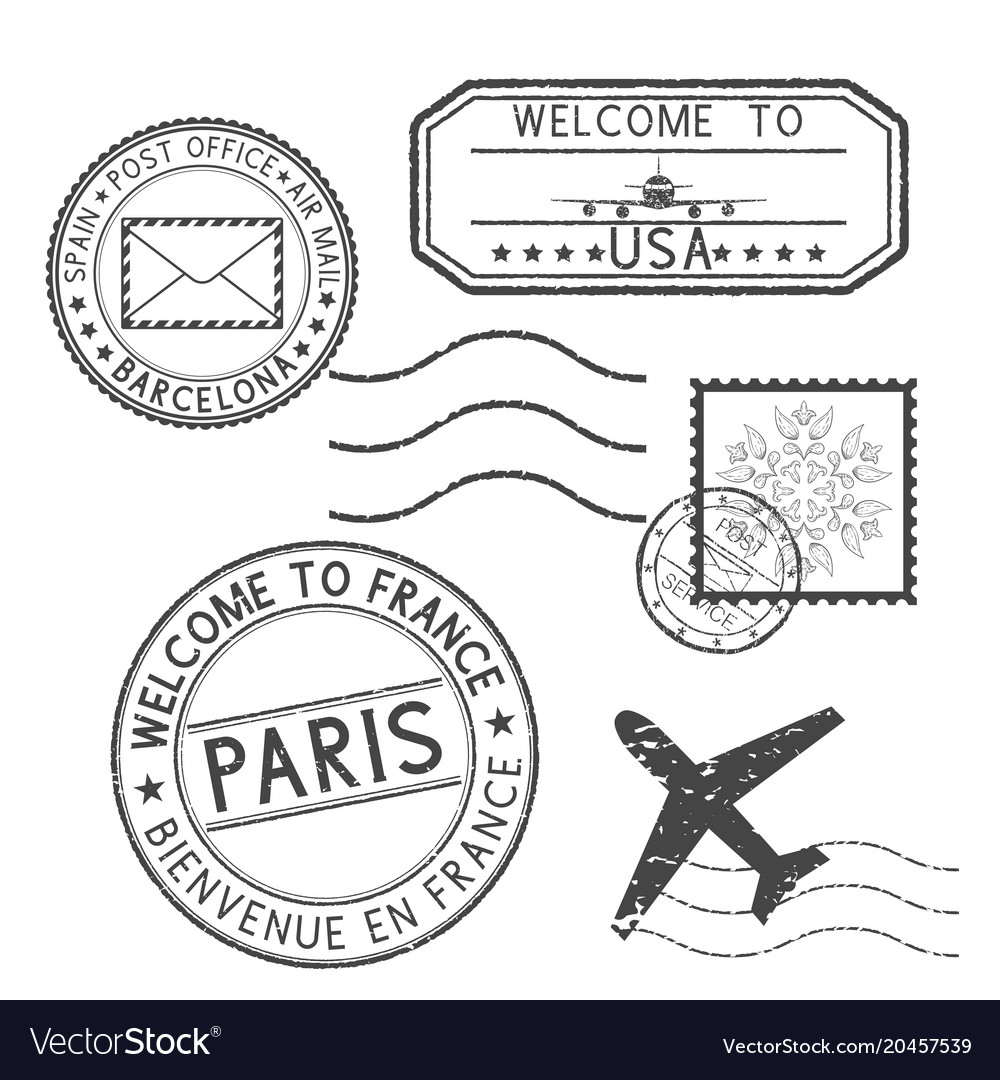 Set of black stamps postmarks and travel stamps