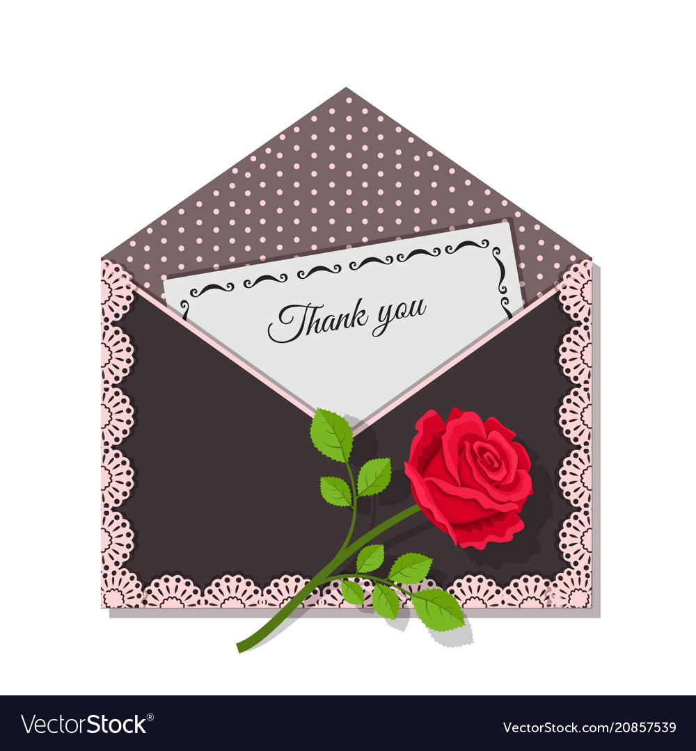 Thank you card and rose flower on dark envelope