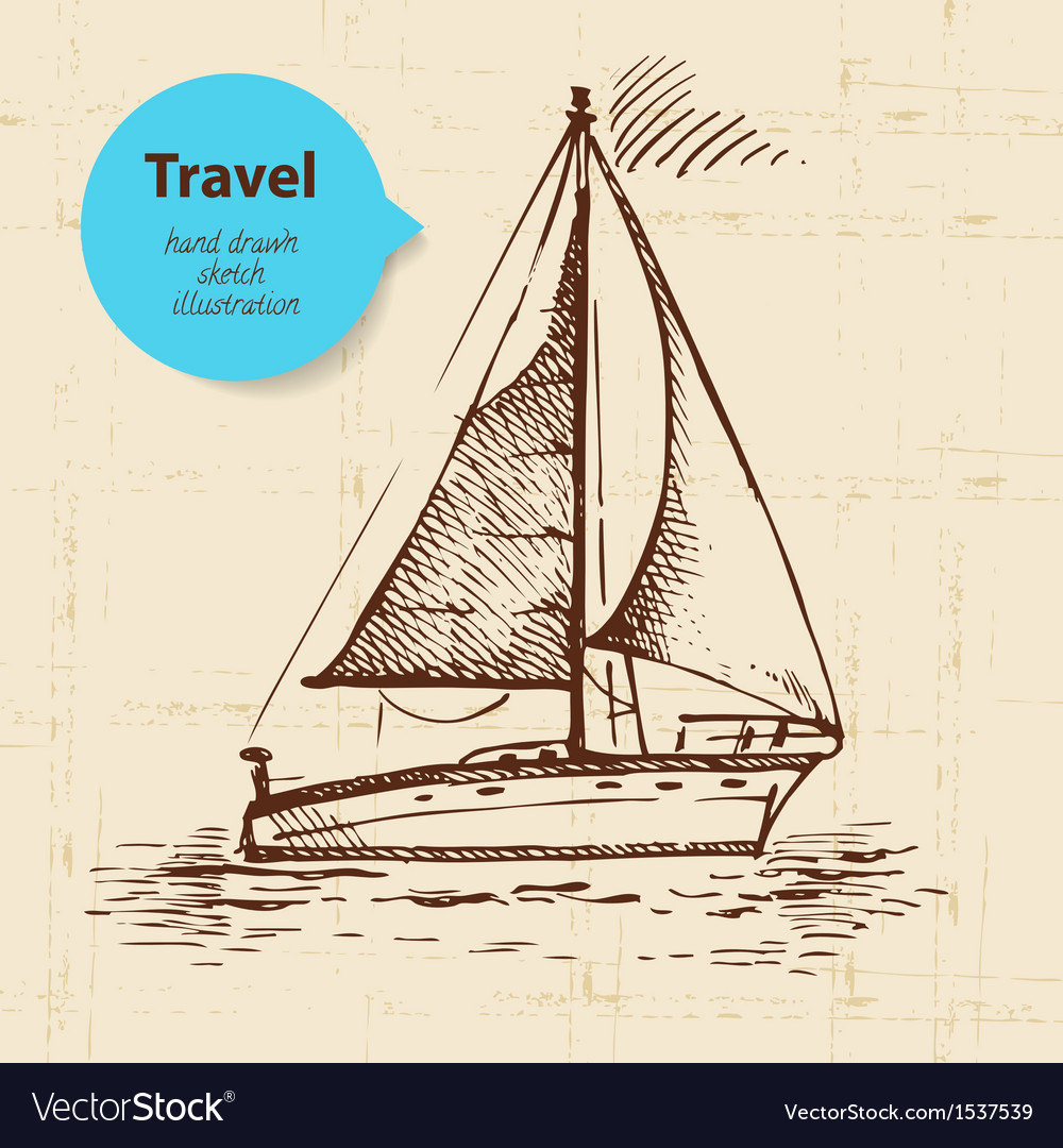Vintage travel background with boat vector image