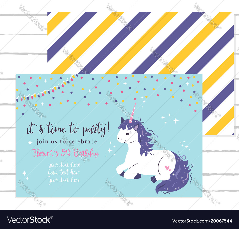 Bashower invitation template with cute unicorn Vector Image