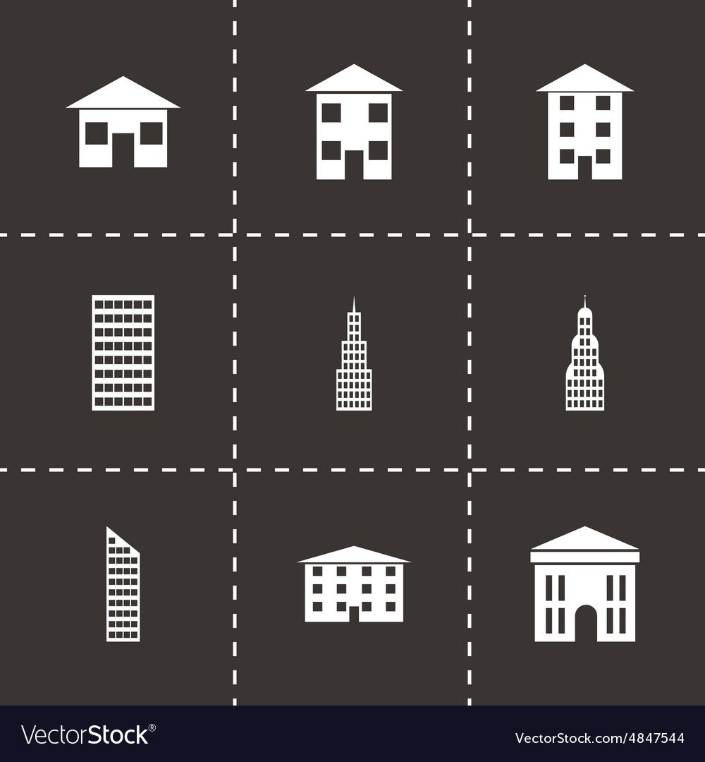 Black buildings icon set