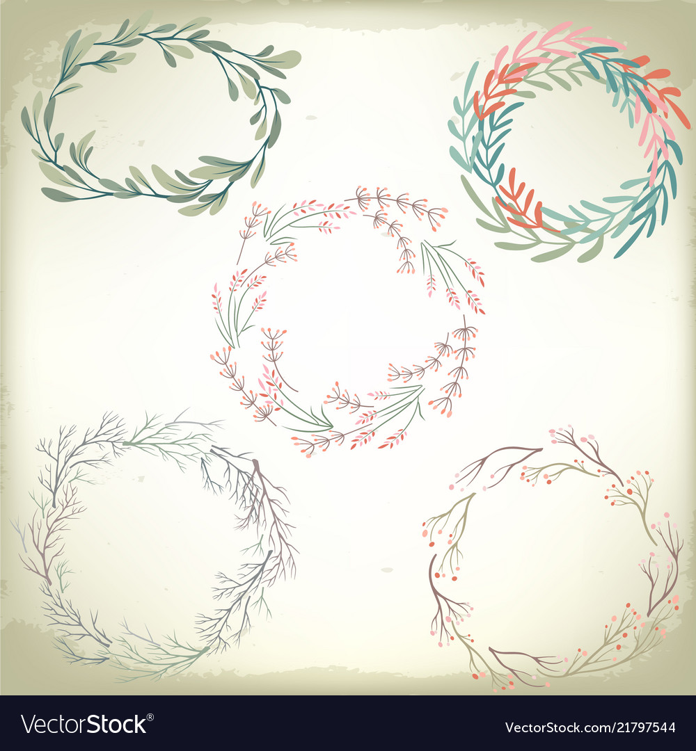 Collection of vintage romantic floral wreathes