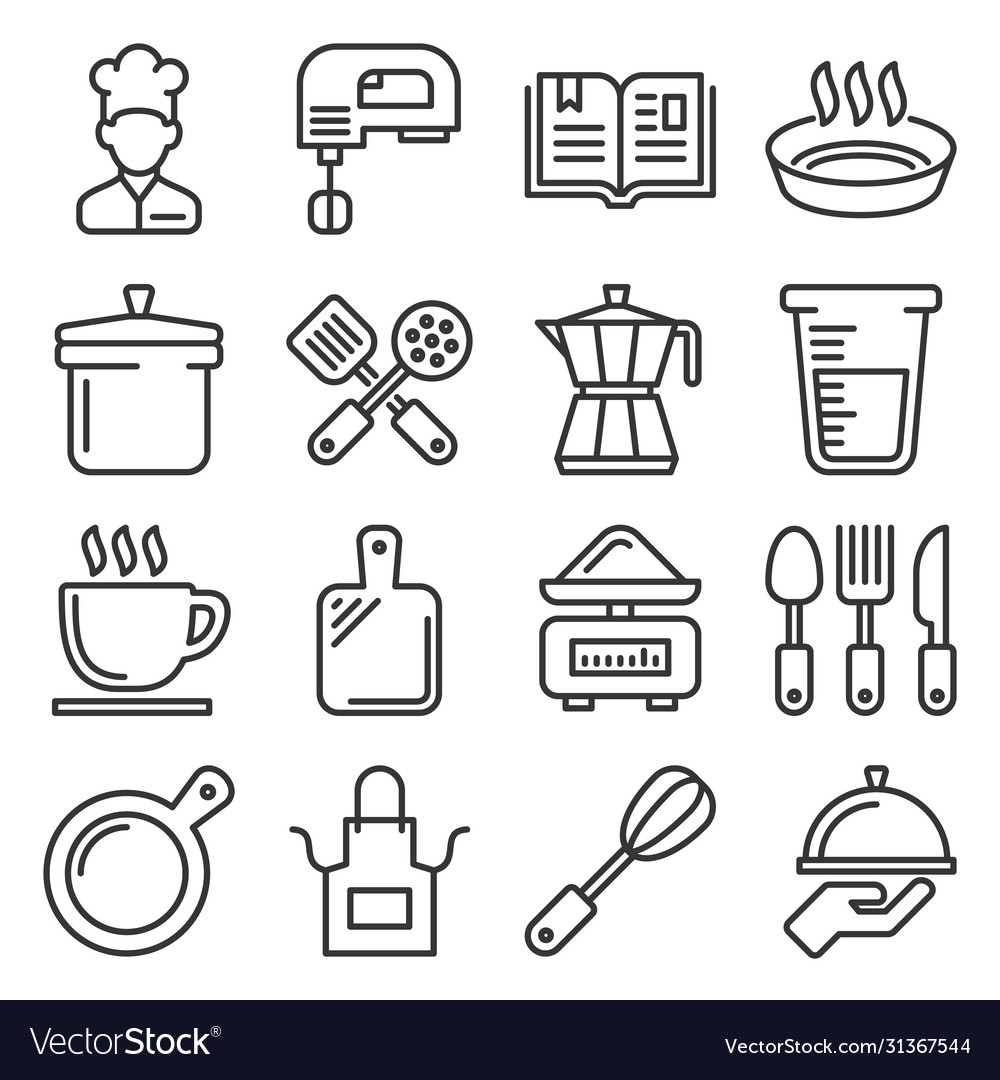 Cooking and kitchen icons set line style