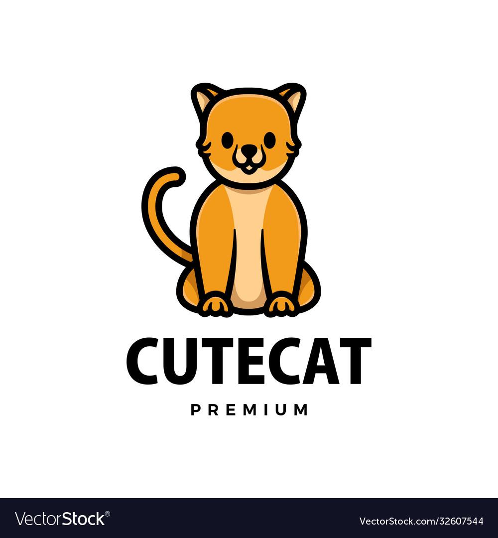 Cute cat cartoon logo icon