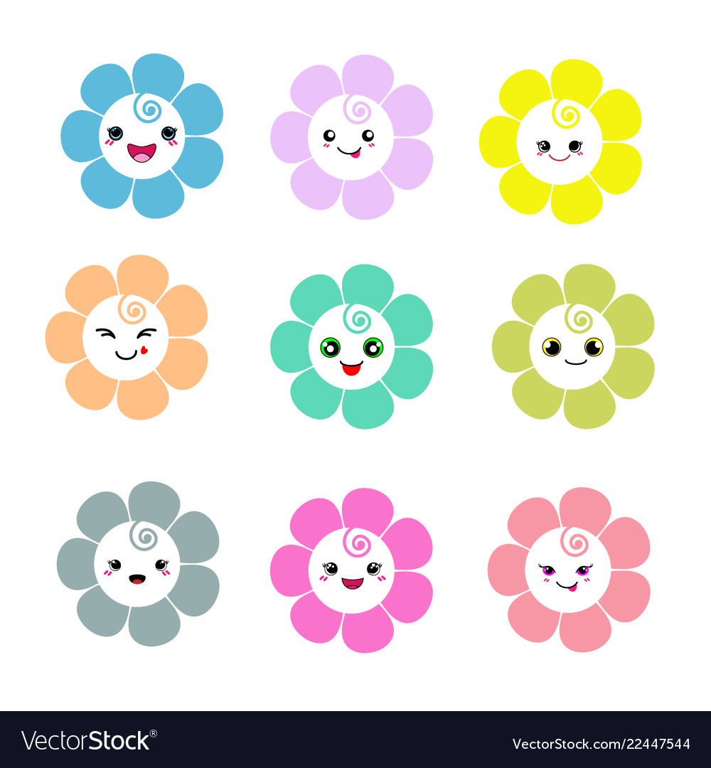 Cute flowers with smiley face on white background