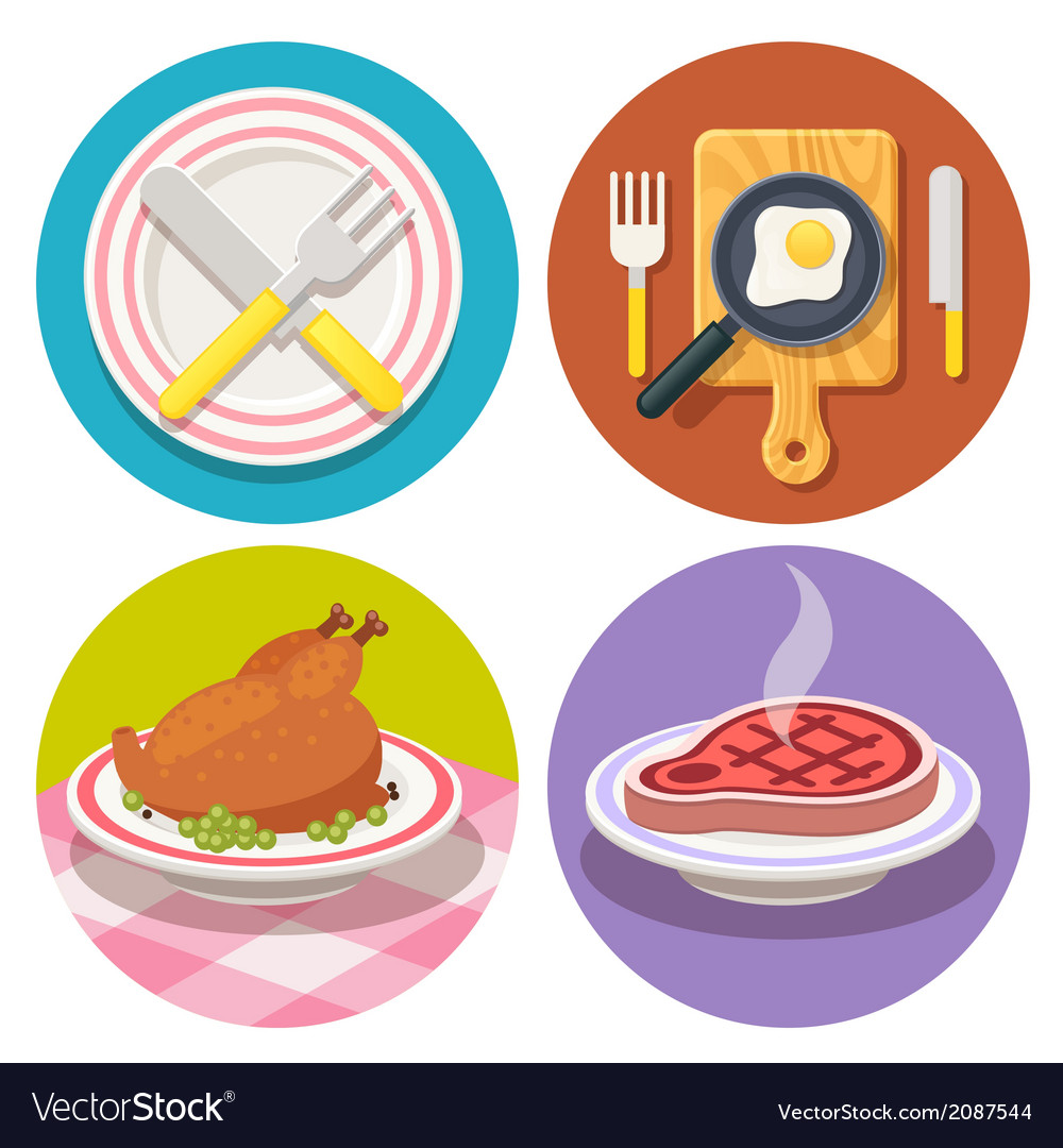 Food and dish icons in flat design vector image