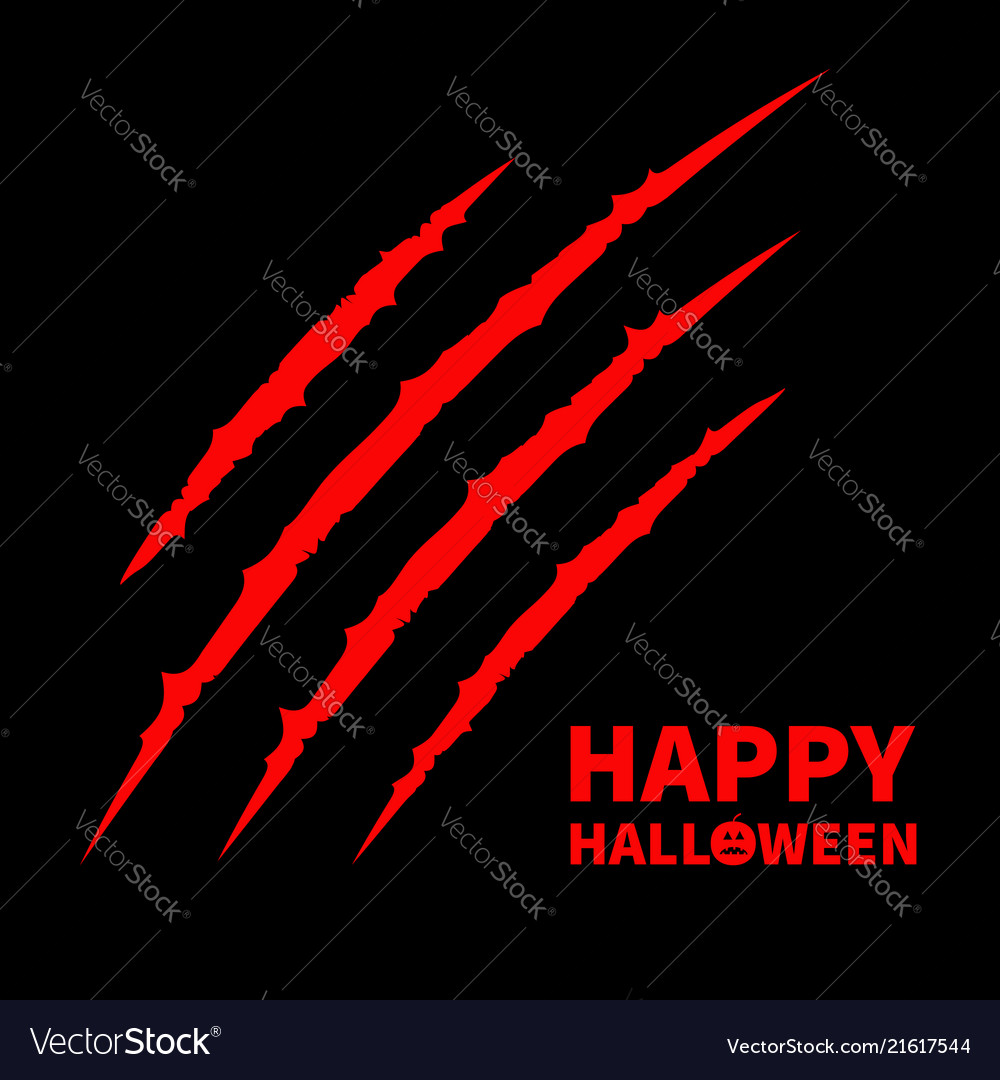 Happy halloween pumpkin text red bloody claws