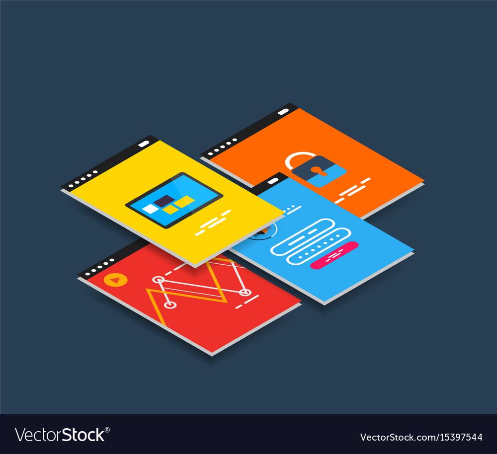 Isometric mobile app ui design concept
