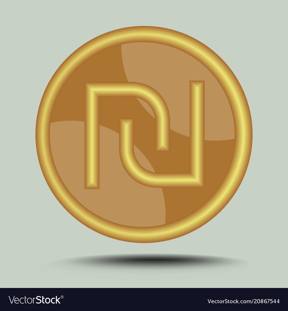 Israeli Currency Shekel Symbol In Circle Gold Vector Image