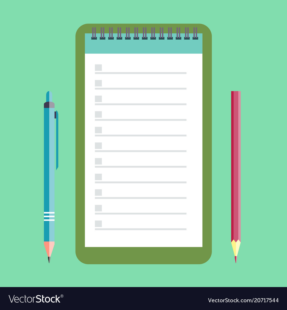 Notebook pencil and pen vector image