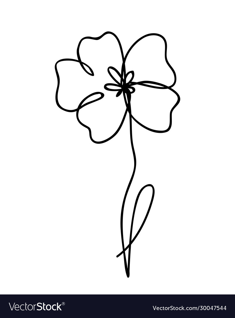 One line drawing abstract flower poppy hand drawn