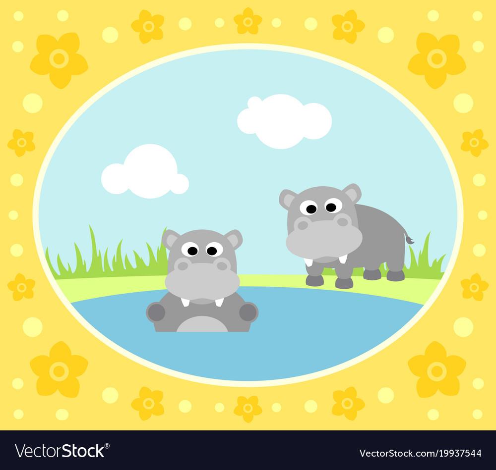 Safari background card with hippopotamus