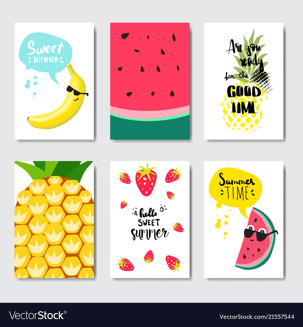 Set exotic fruits badge isolated typographic