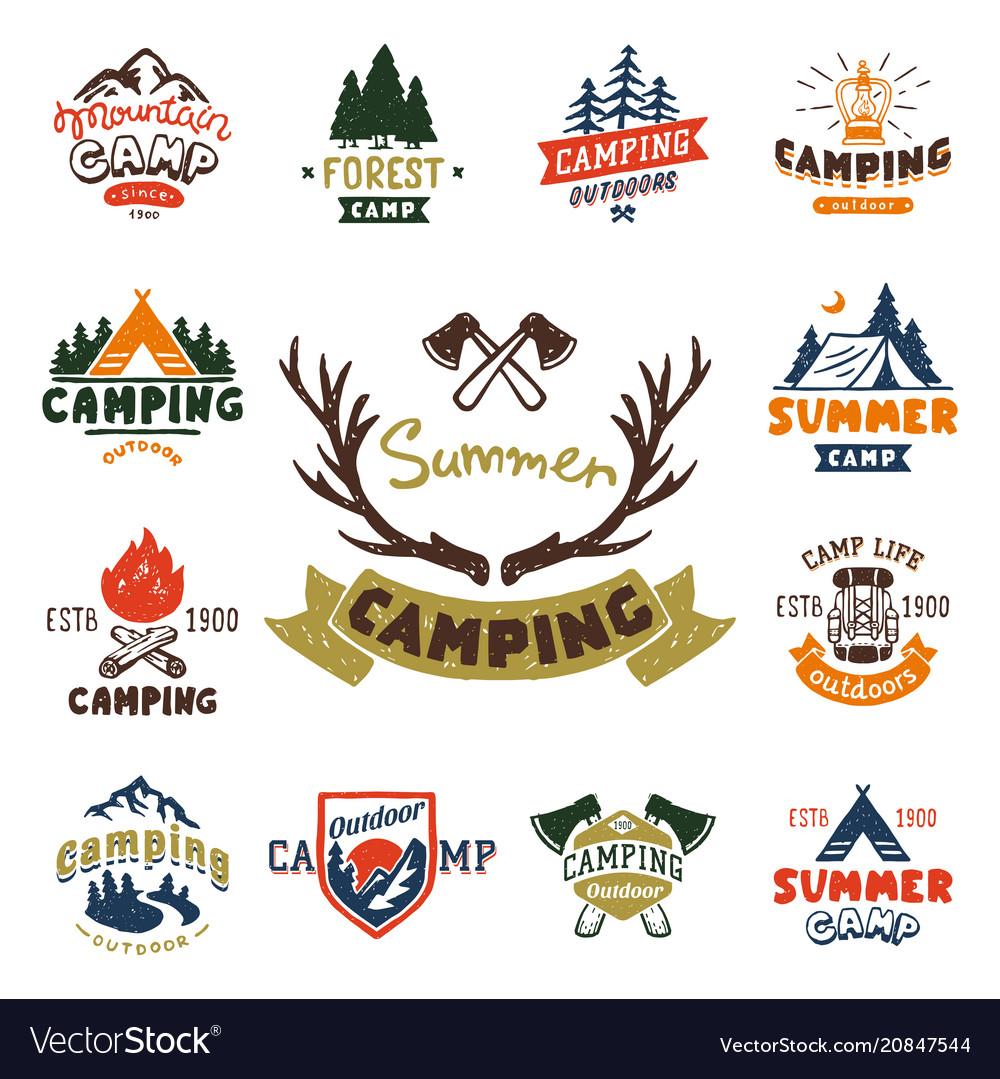 Set of vintage woods camp badges and travel logo