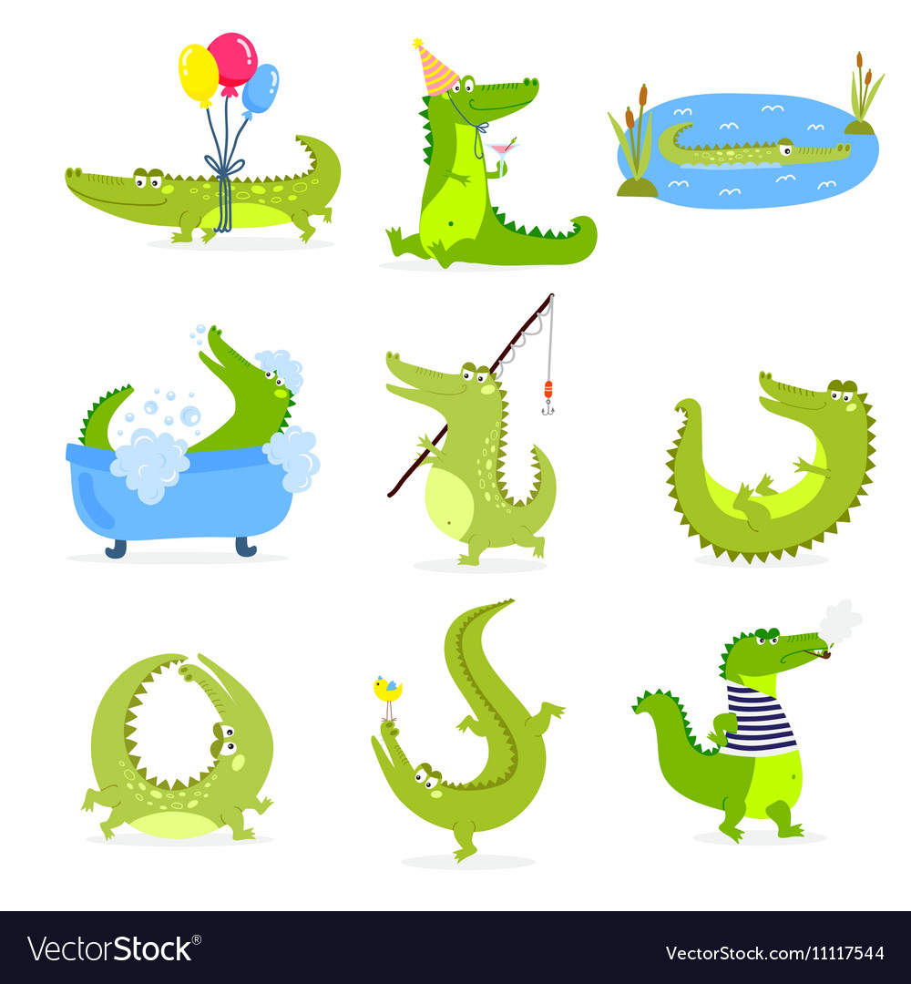 Set with cute cartoon crocodiles vector image