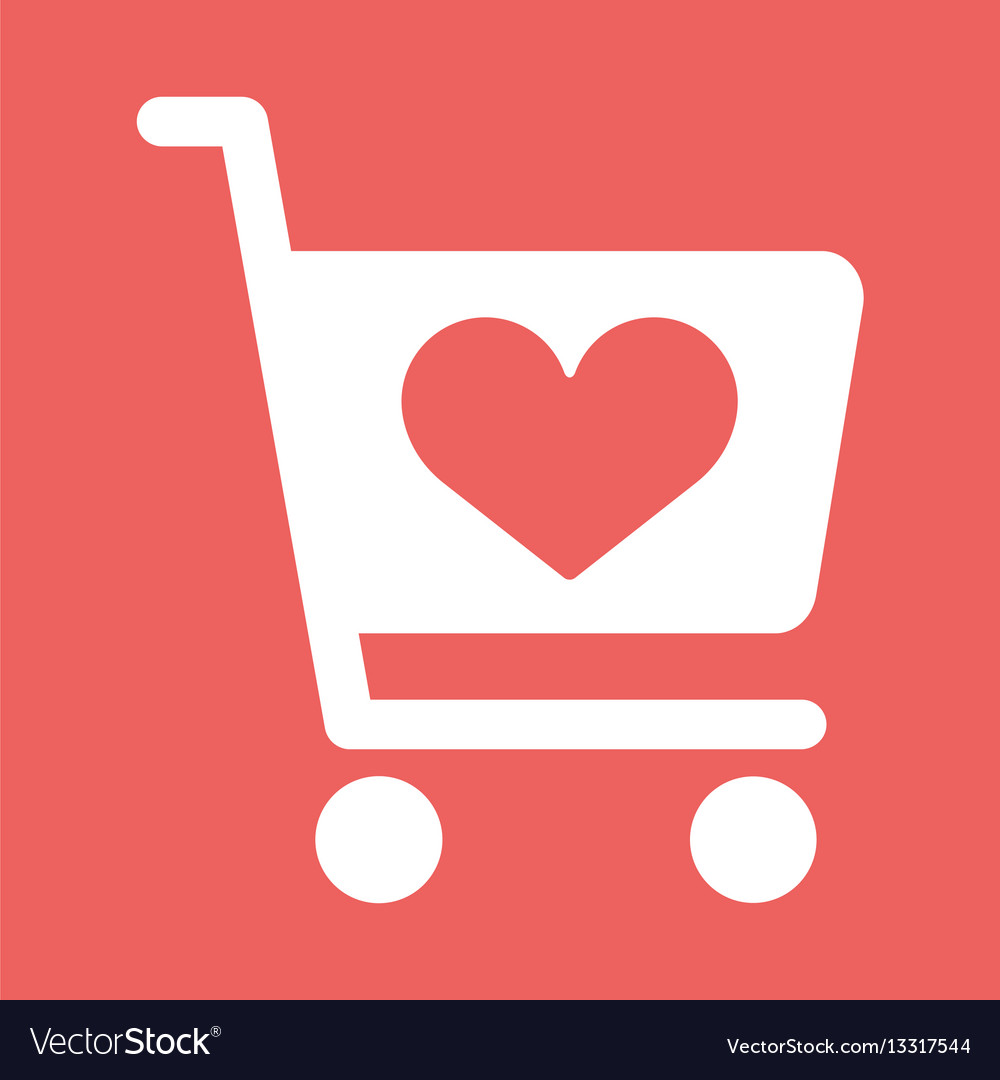 Store cart icon with shape of the heart vector image