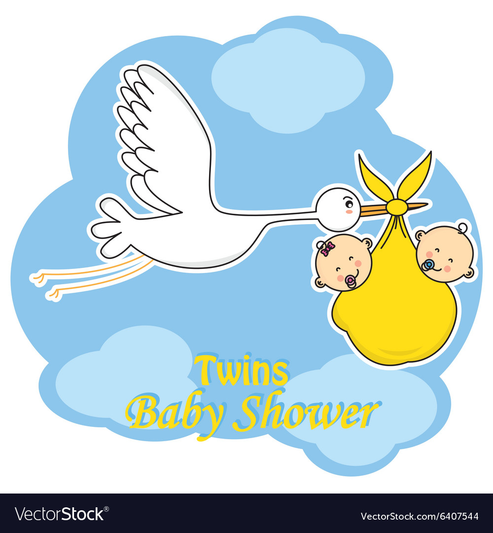 Stork with twins vector image