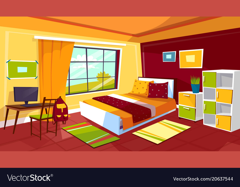 Teenager bedroom cartoon of Royalty Free Vector Image