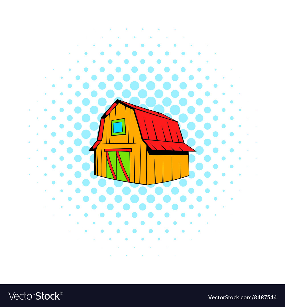 Wooden barn icon comics style vector image