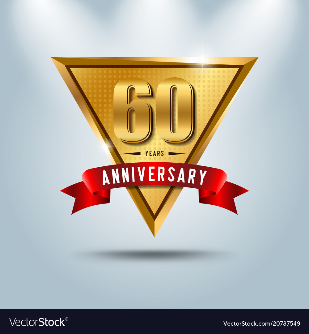60 years anniversary celebration logotype vector image