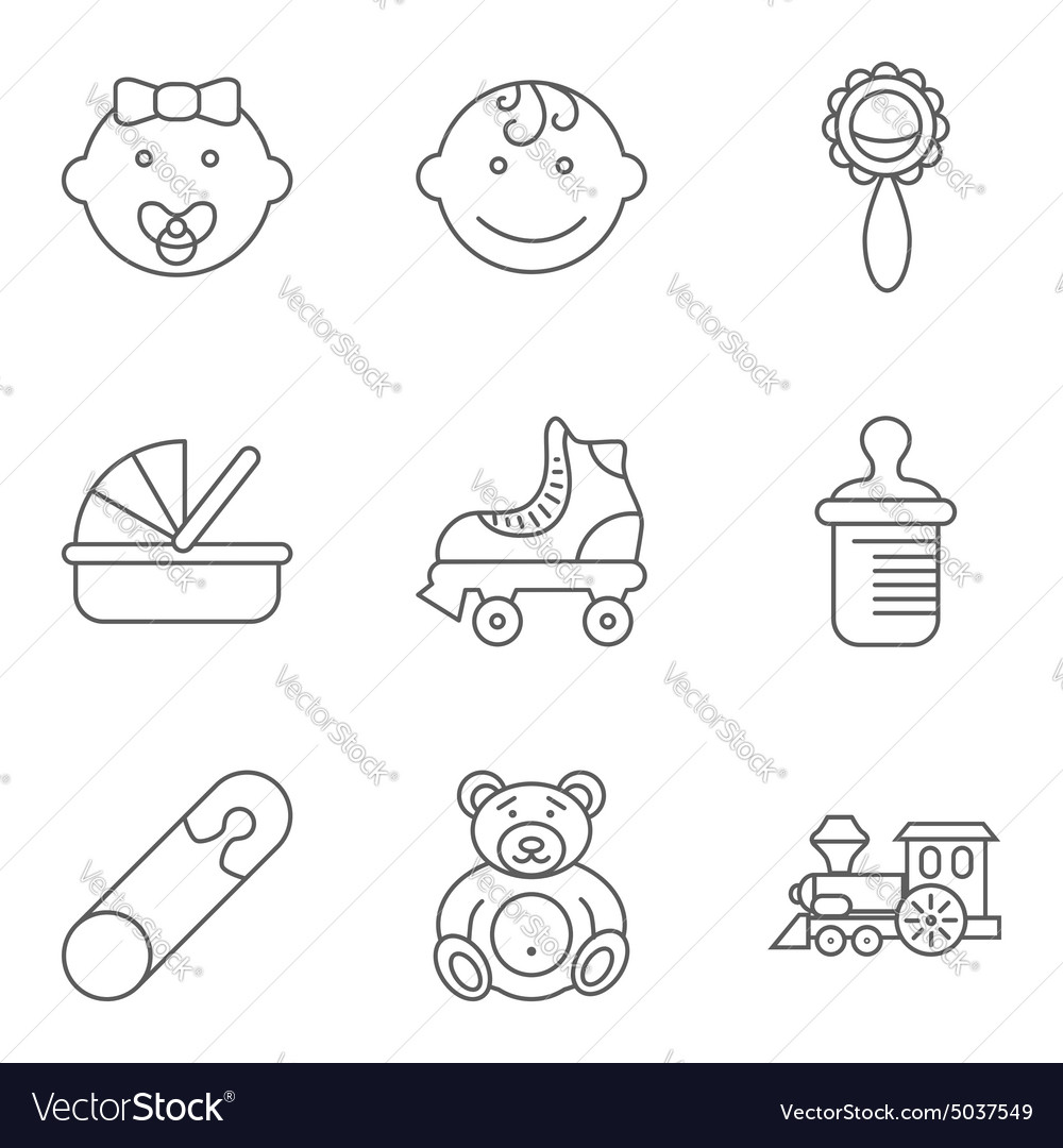Baby related flat icon set