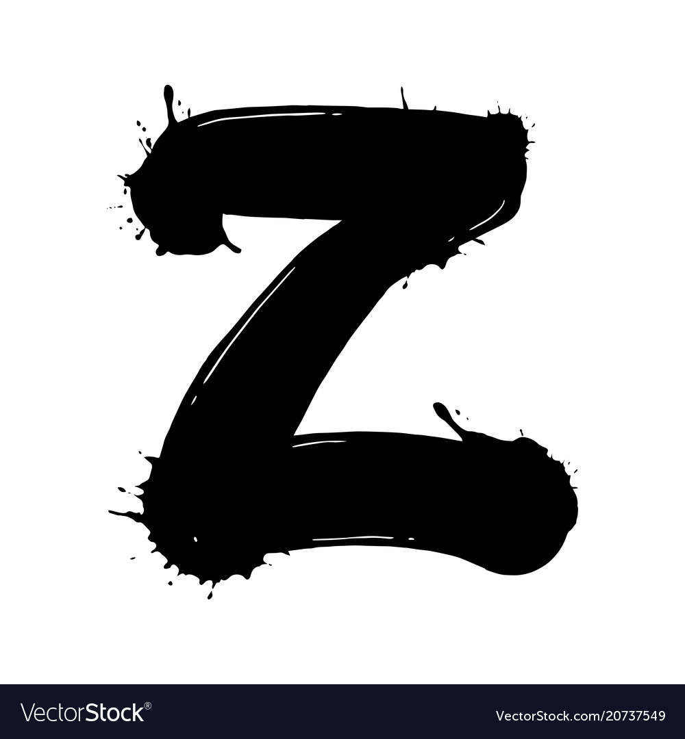 Blot Letter Z Black And White Royalty Free Vector Image
