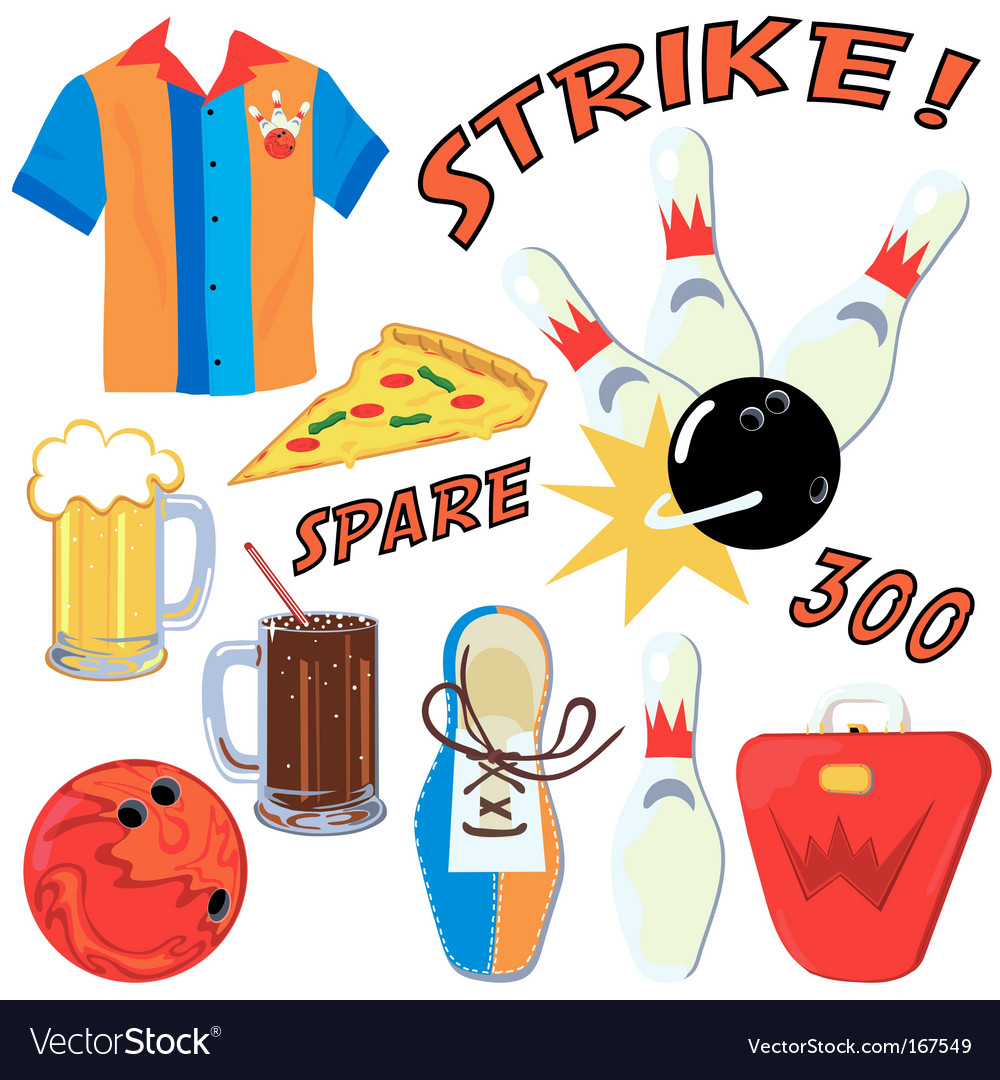 Bowling party. Clip art icons
