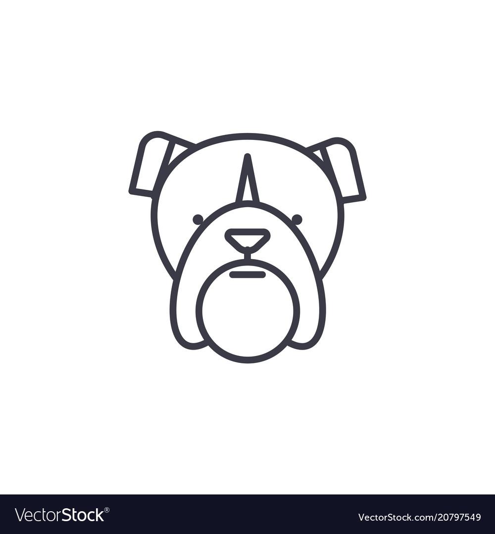 Bulldog head line icon sign vector image