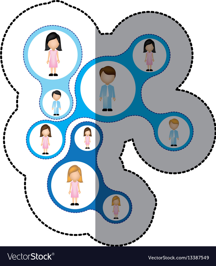 Color teamwork people icon vector image