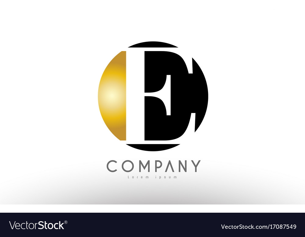 E black white gold golden letter logo design