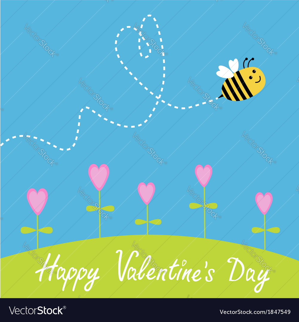Flying bee Flowers Dash heart in the sky card