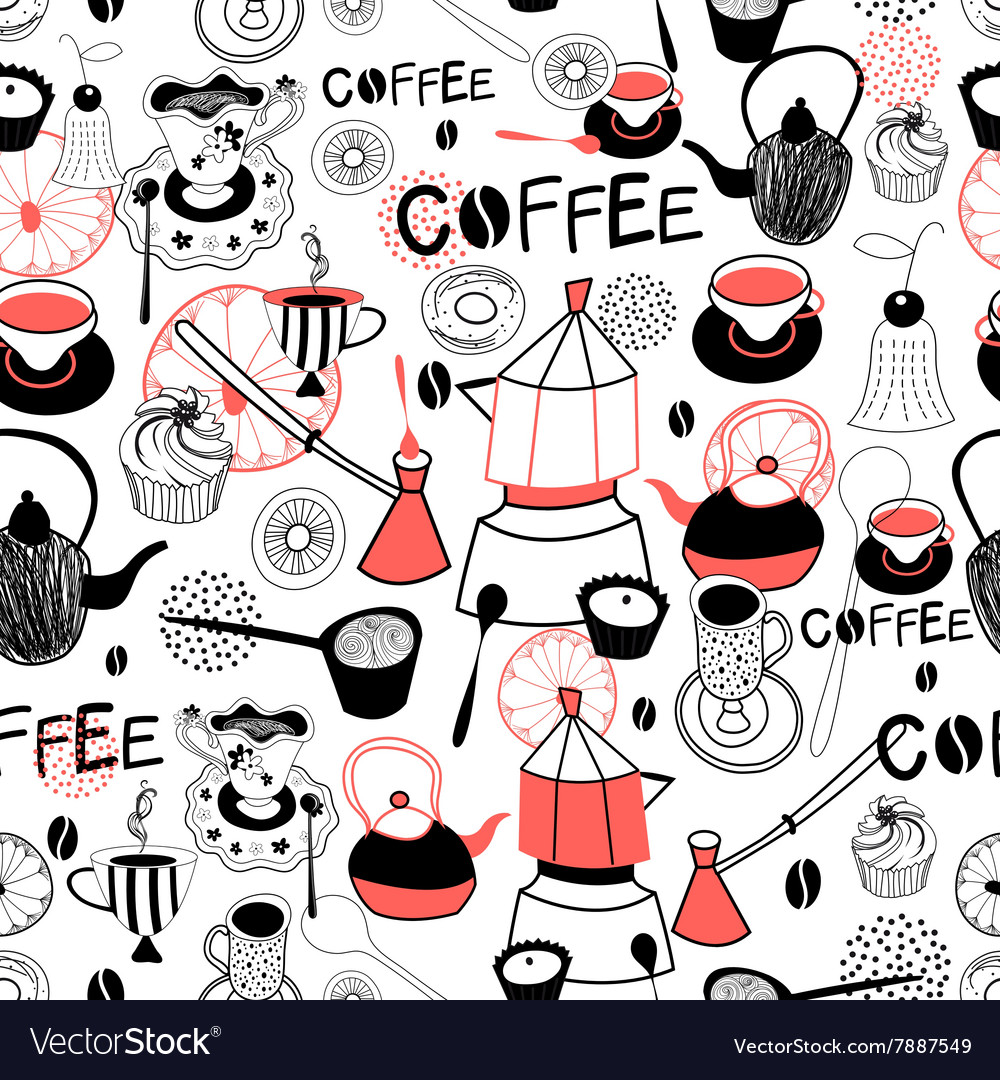 Graphic pattern with crockery for coffee and cake
