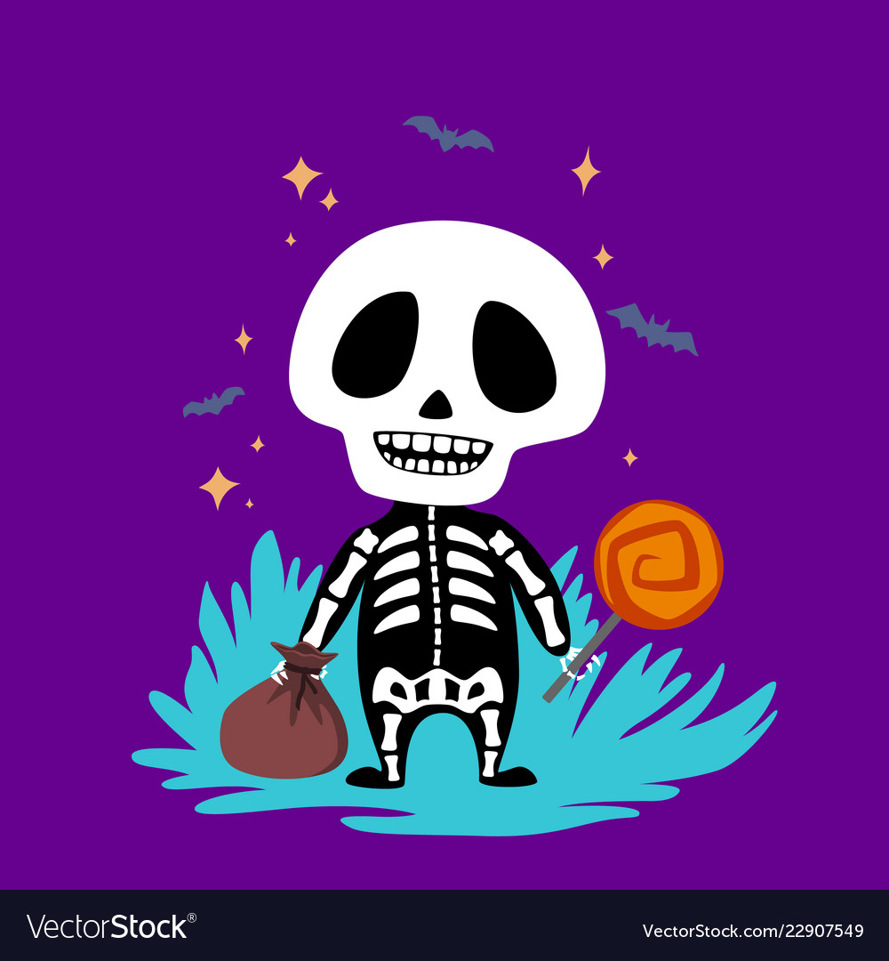 Halloweenbaby skeleton with candy