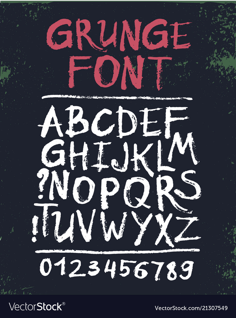 Hand drawn grunge font letters set