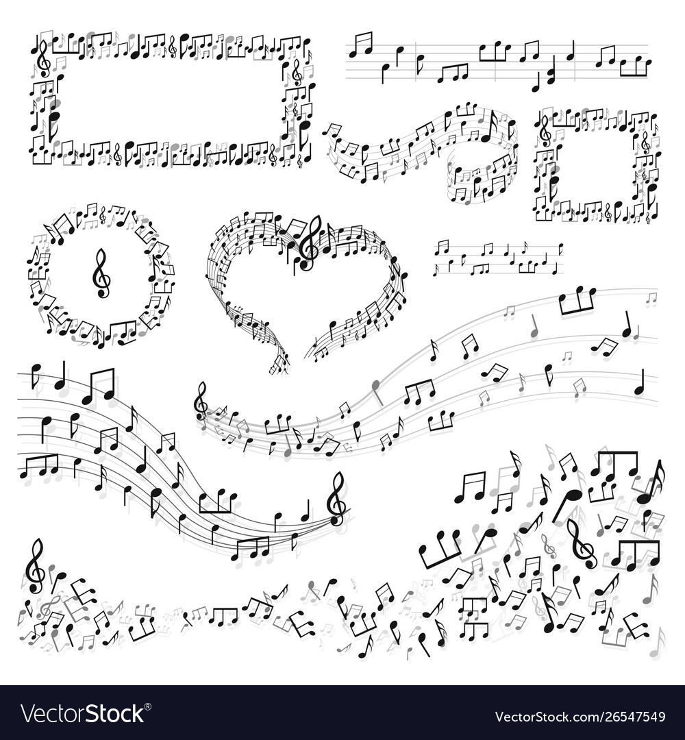 Note frames and decor music art melody or song