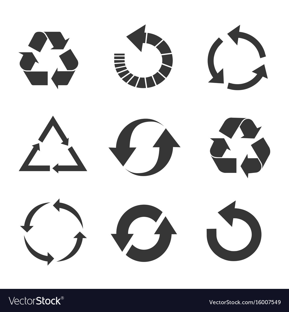Recycled eco icon set vector image