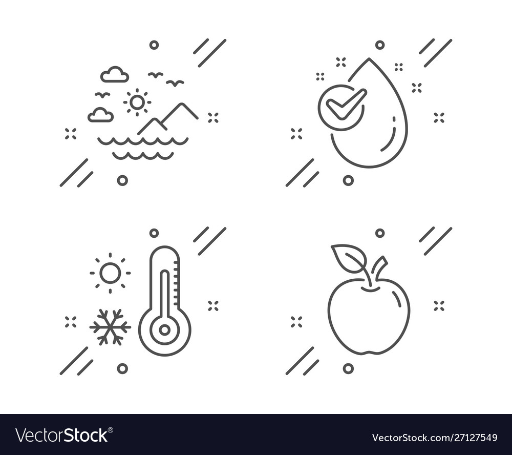 Sea mountains weather thermometer and water drop