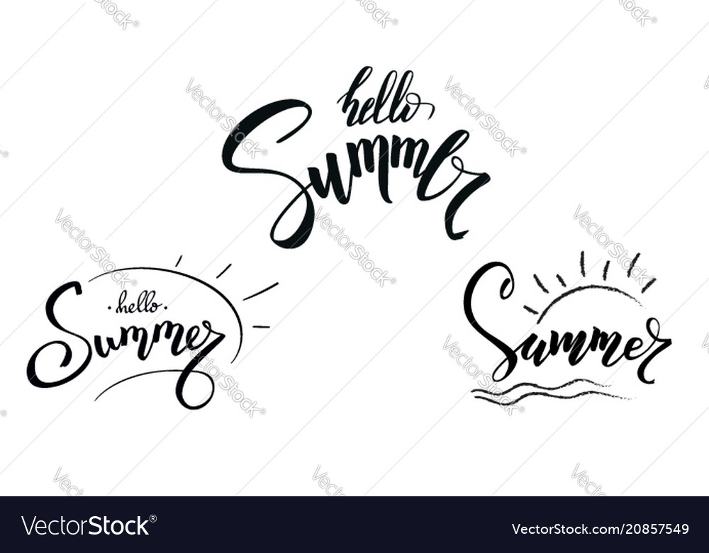 Set of design of calligraphic text summer