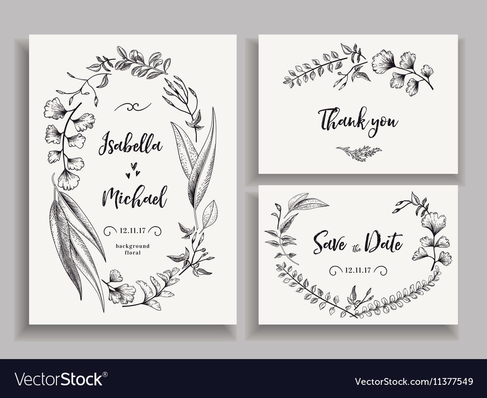 Set of wedding cards with leaves herbs and flowers