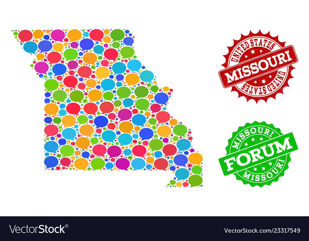 Social Network Map Of Missouri State With Speech Vector Image