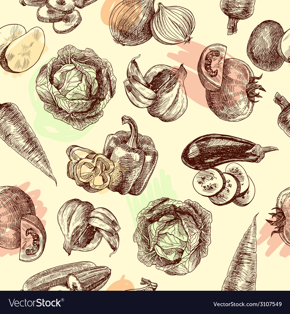 Vegetables sketch seamless pattern