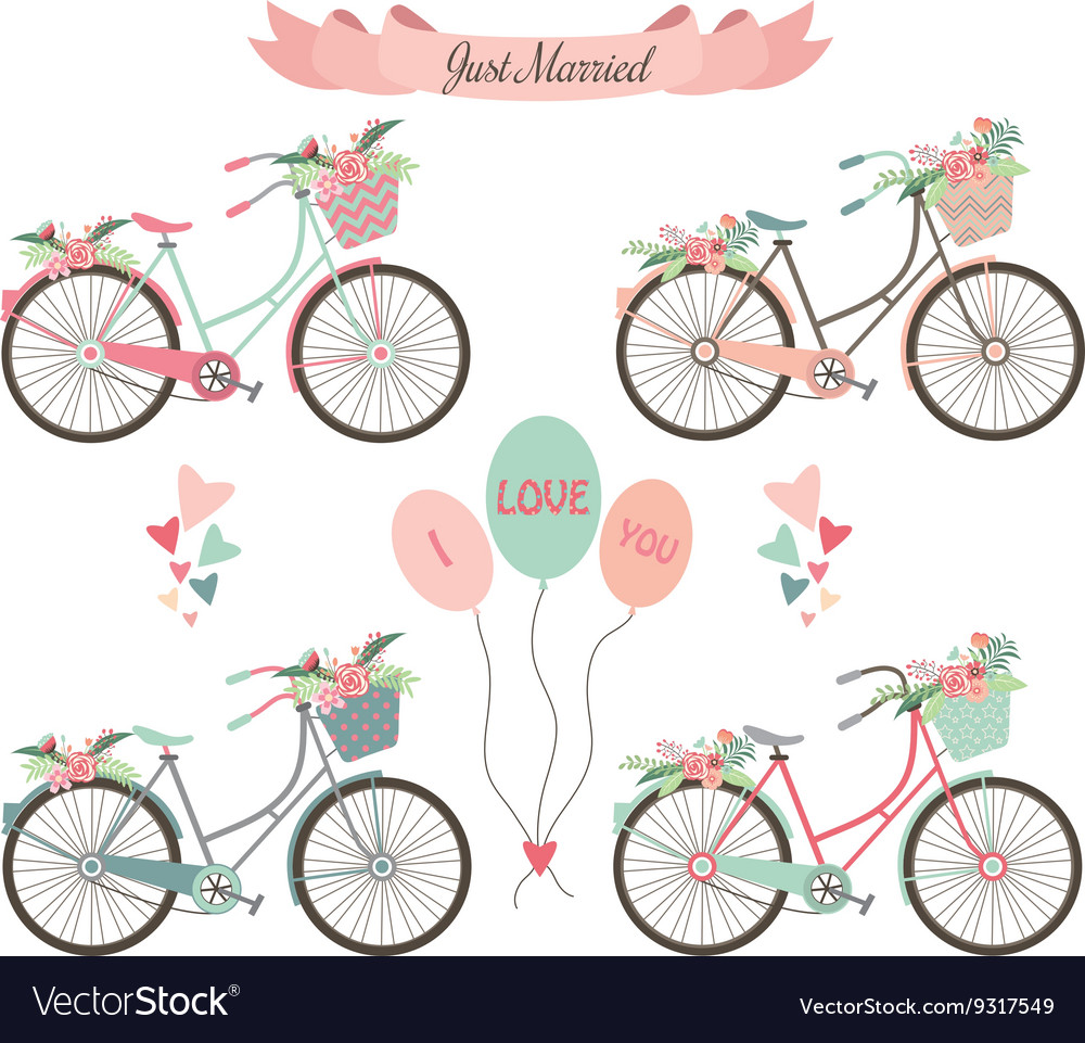 Wedding BicyclesFlowersBannerElements vector image