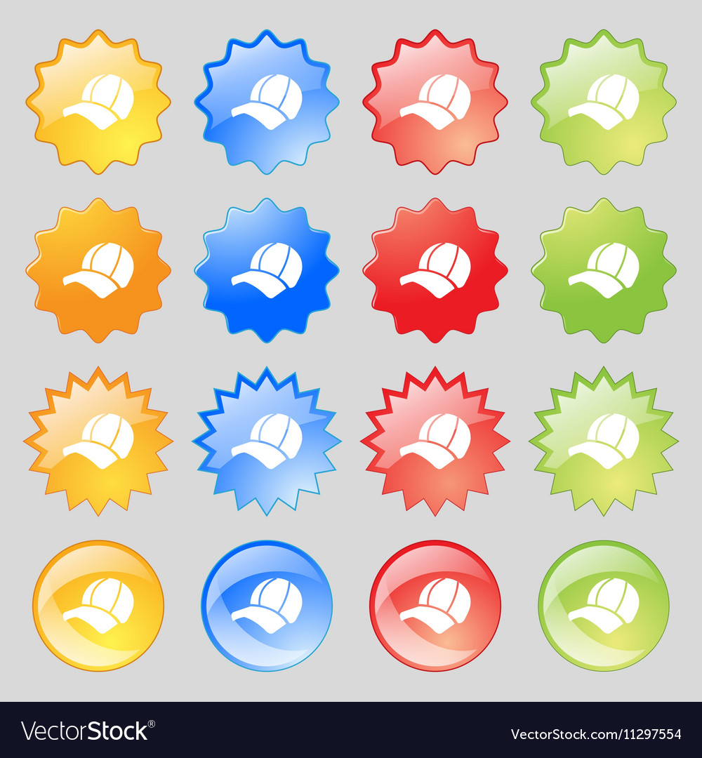 Ball cap icon sign Big set of 16 colorful modern