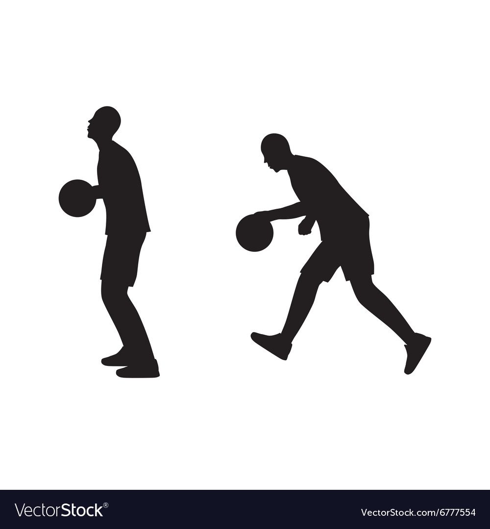Black silhouette of basketball player with a ball