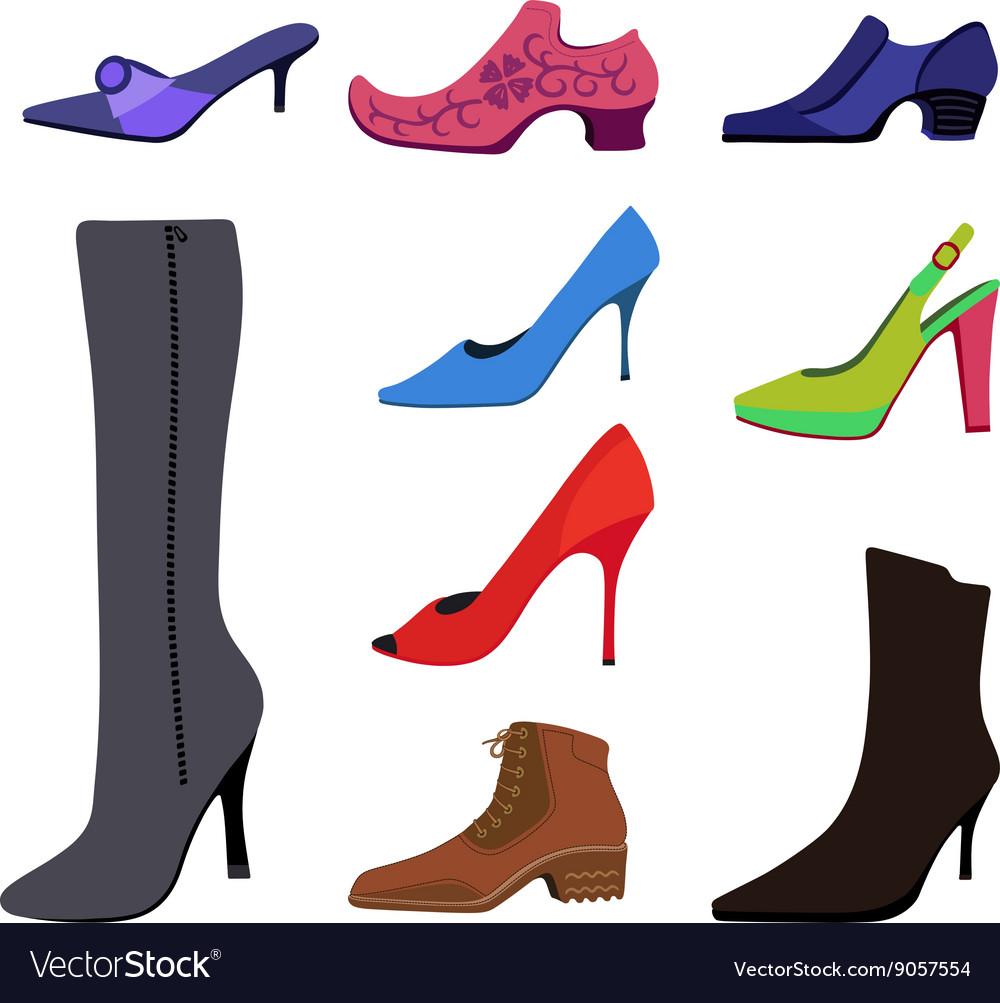 Colored flat lay man women shoes set