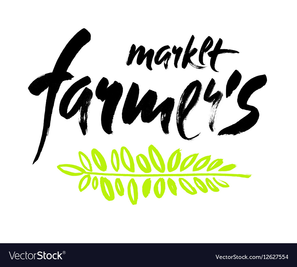 Farmers market hand lettering retro vintage style vector image