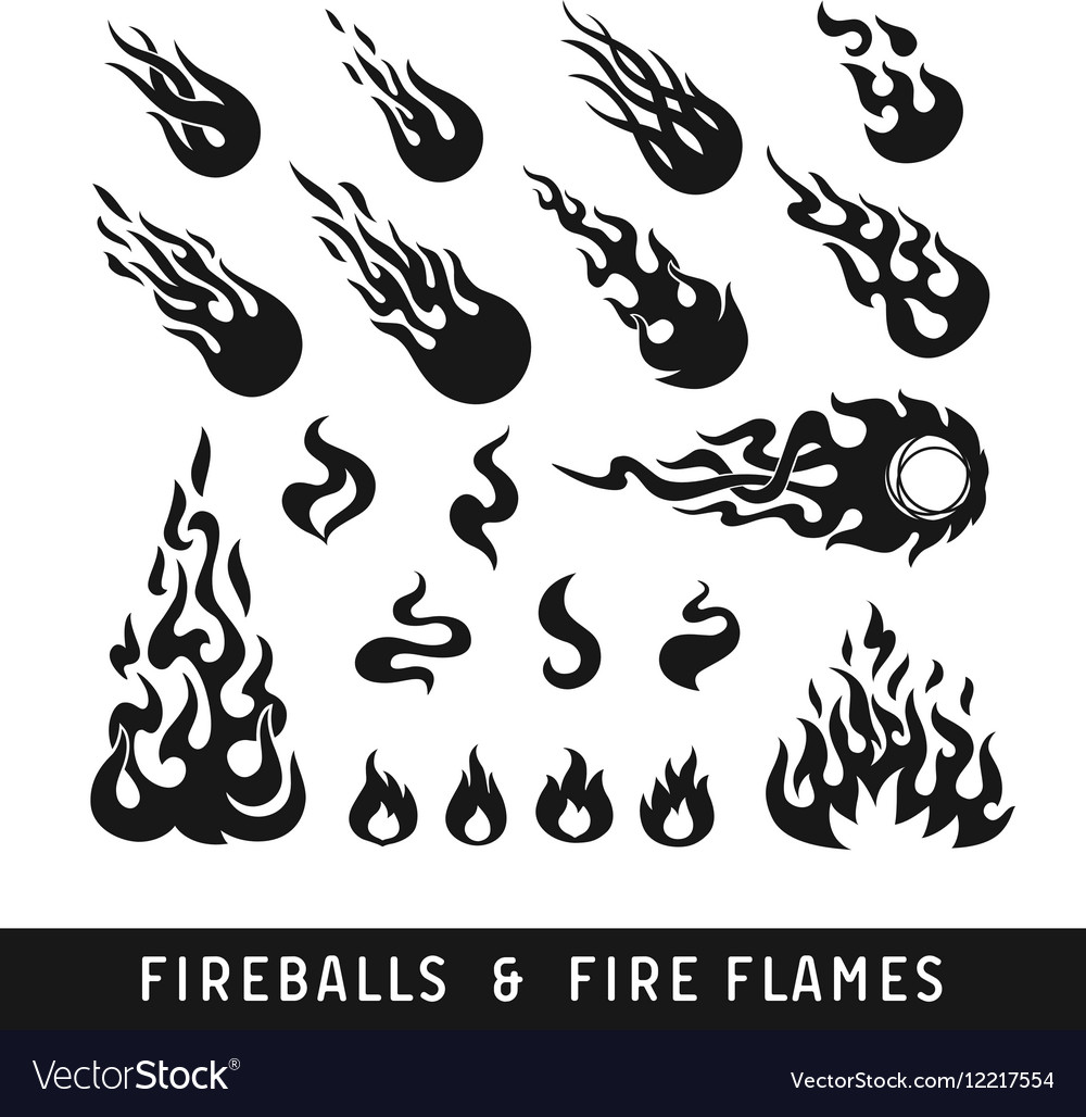Fireballs and flame silhouette icons
