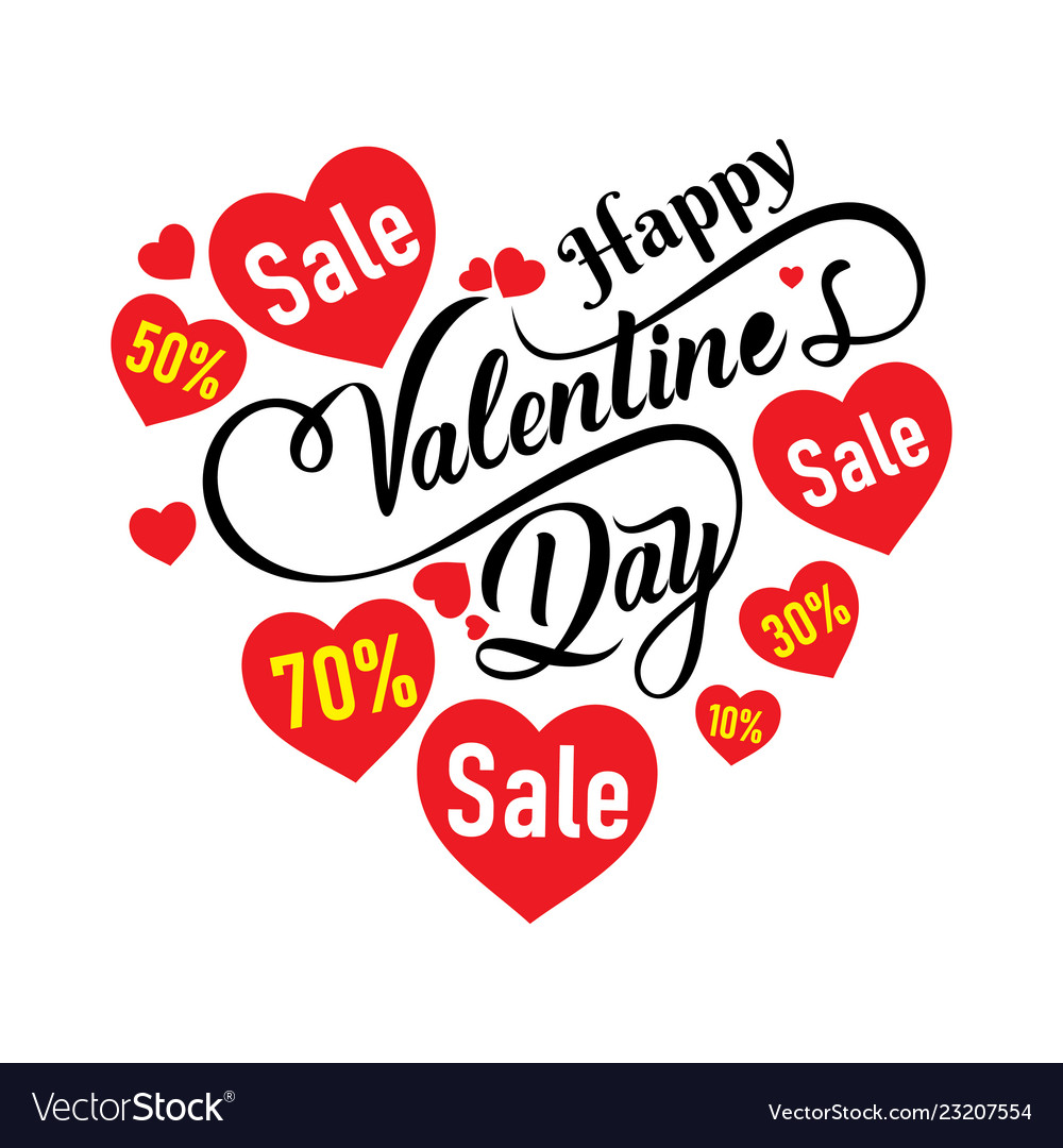 Happy Valentines Day Sale Banner Poster Design Vector Image