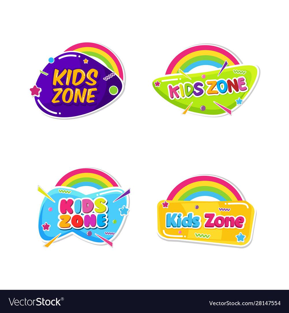 Kids zone emblem colorful cartoon set children
