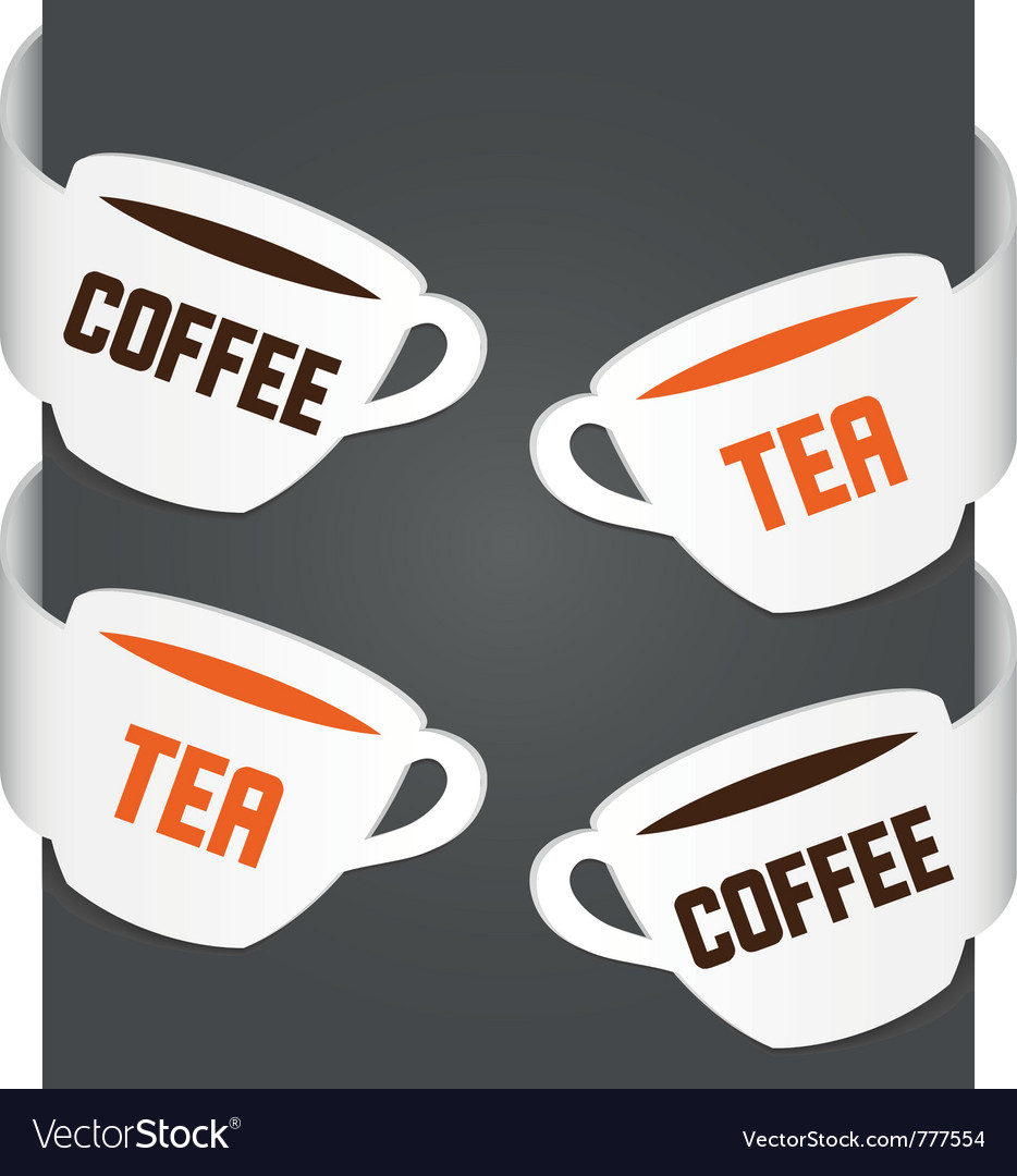 Left and right side signs - coffee and tea vector